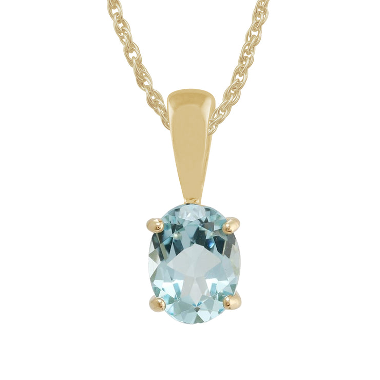 Classic Oval Blue Topaz Pendant in 9ct Yellow Gold