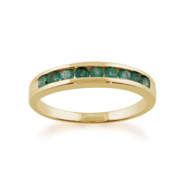 Channel Set 0.44ct Round Emerald Ring in 9ct Yellow Gold