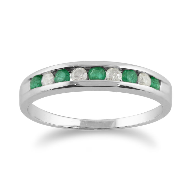 Classic Round Emerald & Diamond Half Eternity Ring in White 9ct Gold