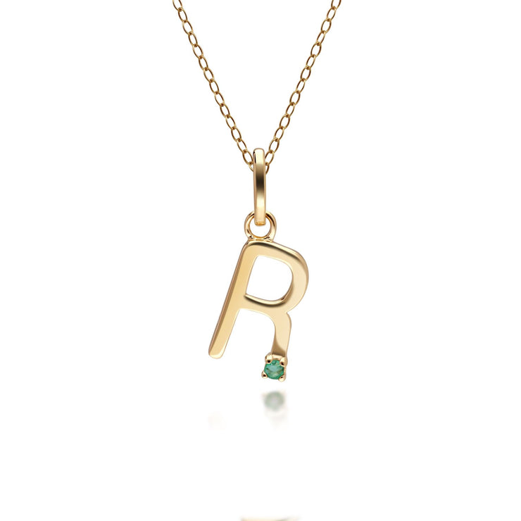 Initial R Emerald Letter Charm Necklace in 9ct Yellow Gold