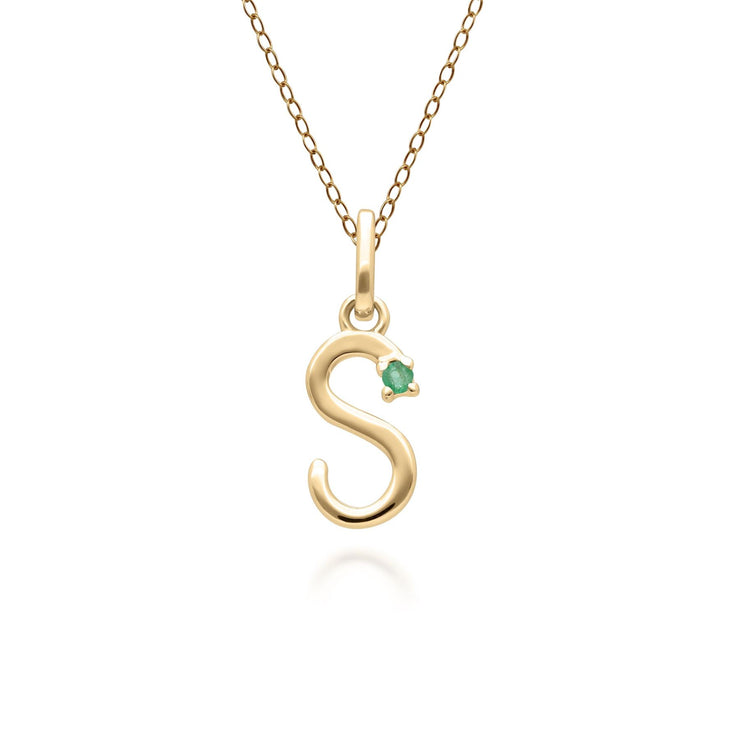 Initial S Emerald Letter Necklace in 9ct Yellow Gold