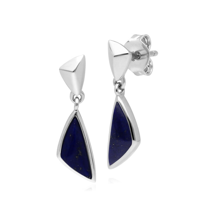 Micro Statement Lapis Lazuli Drop Earrings in 925 Sterling Silver