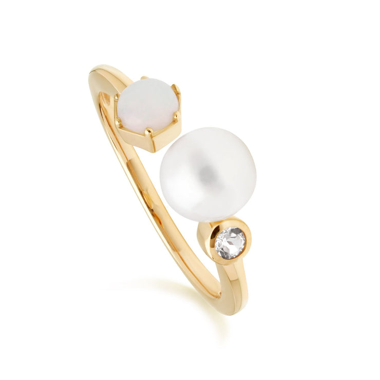 Modern Pearl, Opal & White Topaz Open Ring in Gold Plated Sterling Silver