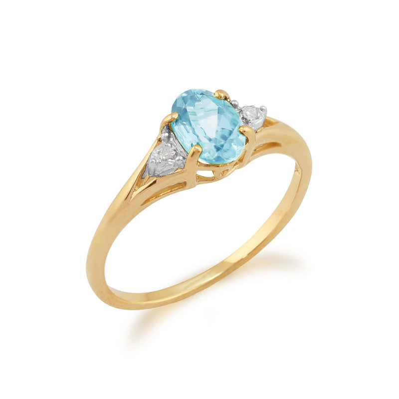Classic Blue Topaz & Diamond Ring in 9ct Yellow Gold