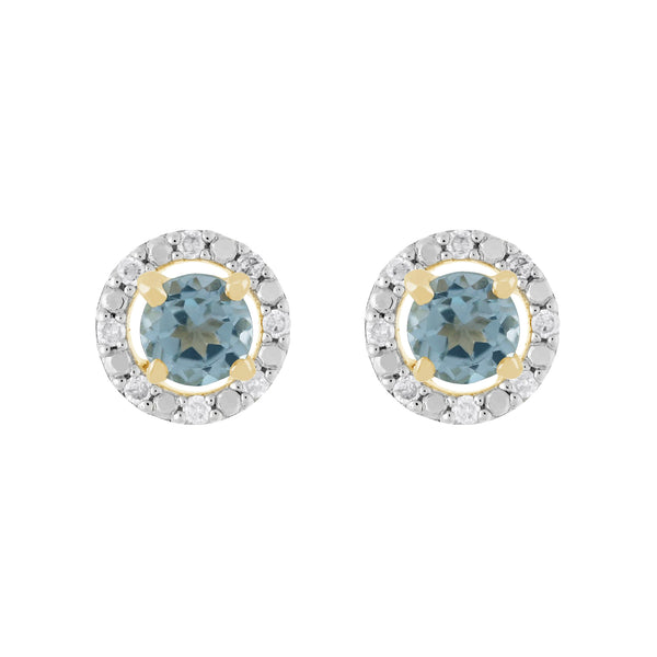 Classic Blue Topaz Stud Earrings & Diamond Round Earrings Jacket Set Image 1