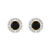Classic Dark Blue Sapphire Stud Earrings & Diamond Round Earrings Jacket Set Image 1