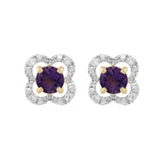 Classic Amethyst Stud Earrings & Diamond Floral Ear Jacket Image 1