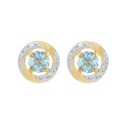 Classic Aquamarine Stud Earrings & Diamond Halo Ear Jacket Image 1