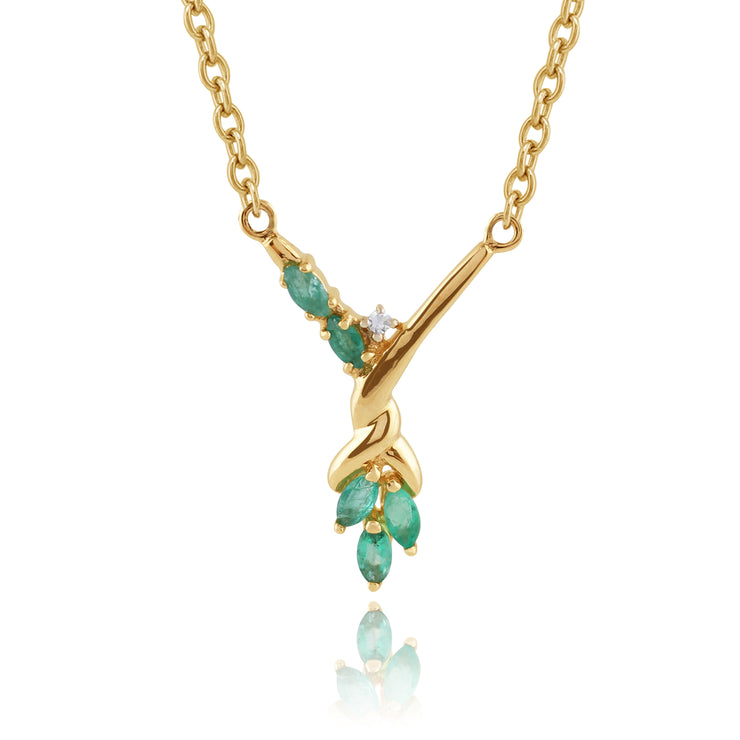 Floral Marquise Emerald & Diamond Necklace in 9ct Yellow Gold