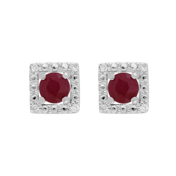 Classic Ruby Stud Earrings & Diamond Square Ear Jacket Image 1