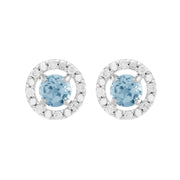Classic Blue Topaz Stud Earrings & Diamond Round Ear Jacket Image 1