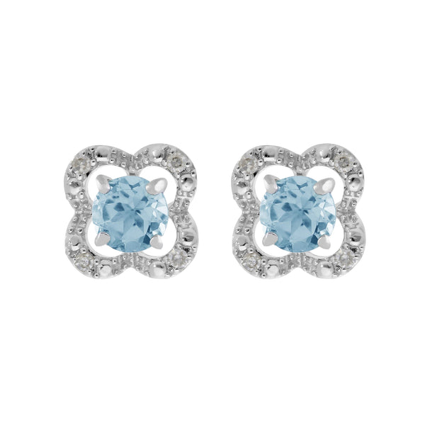 Classic Blue Topaz Stud Earrings & Diamond Flower Ear Jacket Image 1