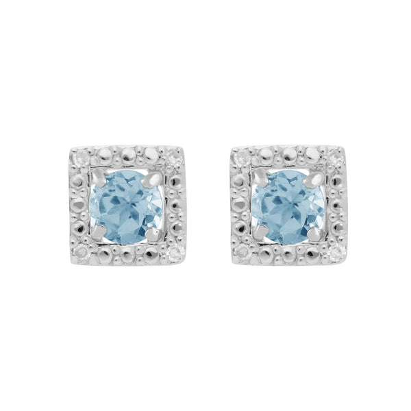 Classic Blue Topaz Stud Earrings & Diamond Square Ear Jacket Image 1