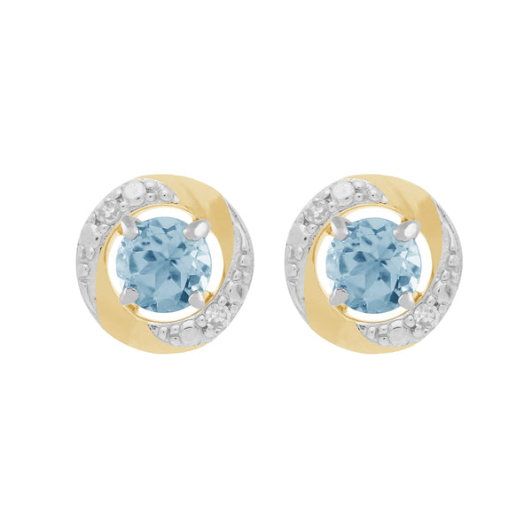 9ct White Gold Blue Topaz Stud Earrings & Diamond Halo Ear Jacket Image 1