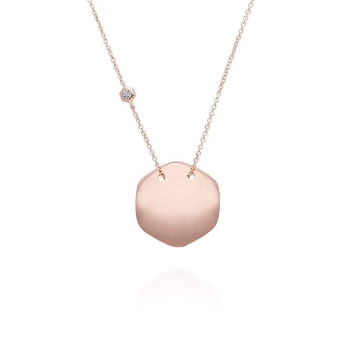 Aquamarine Engravable Necklace in Rose Gold Plated Sterling Silver