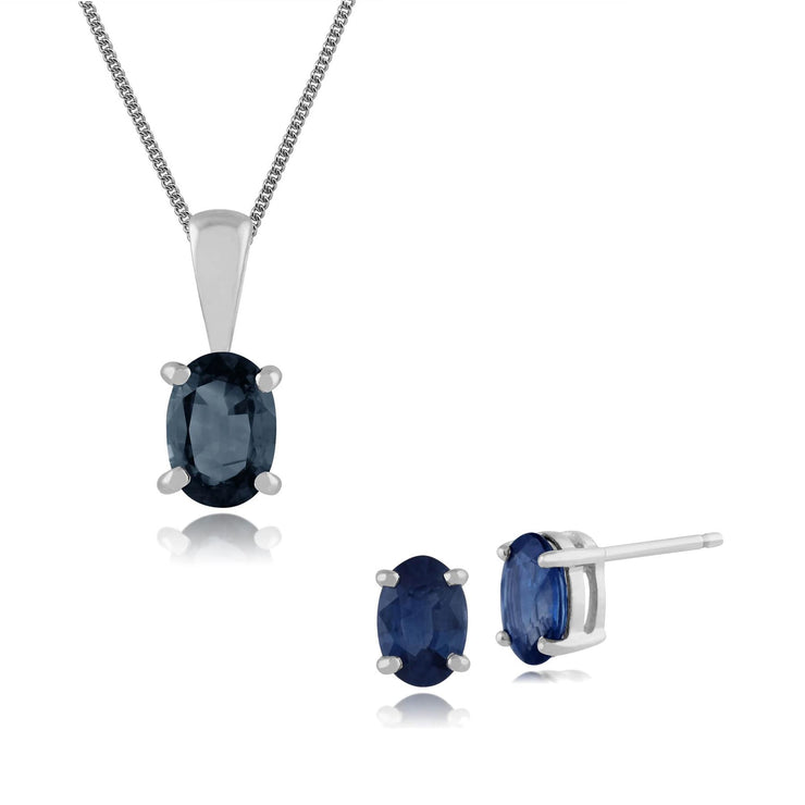 Classic Oval Sapphire Single Stone Stud Earrings & Pendant Set in 9ct White Gold