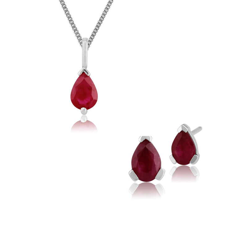Classic Pear Ruby Single Stone Stud Earrings & Pendant Set in 9ct White Gold