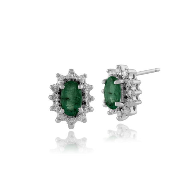 Classic Oval Emerald & Diamond Cluster Stud Earrings in 9ct White Gold 5x3mm