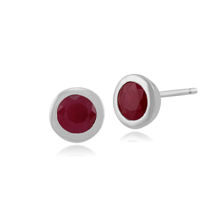 Classic Round Ruby Bezel Set Stud Earrings in 9ct White Gold