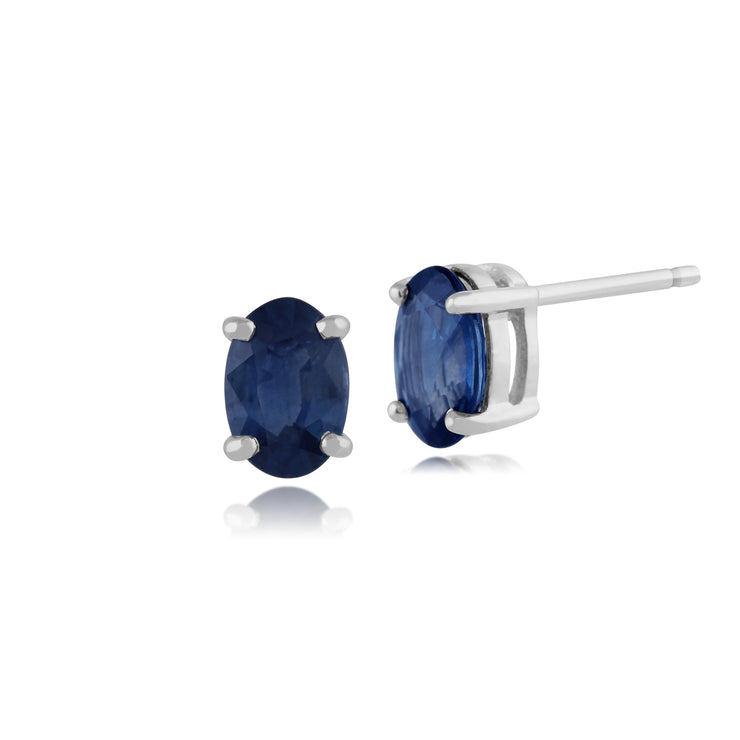 Classic Oval Light Blue Sapphire Stud Earrings in 9ct White Gold 6x4mm