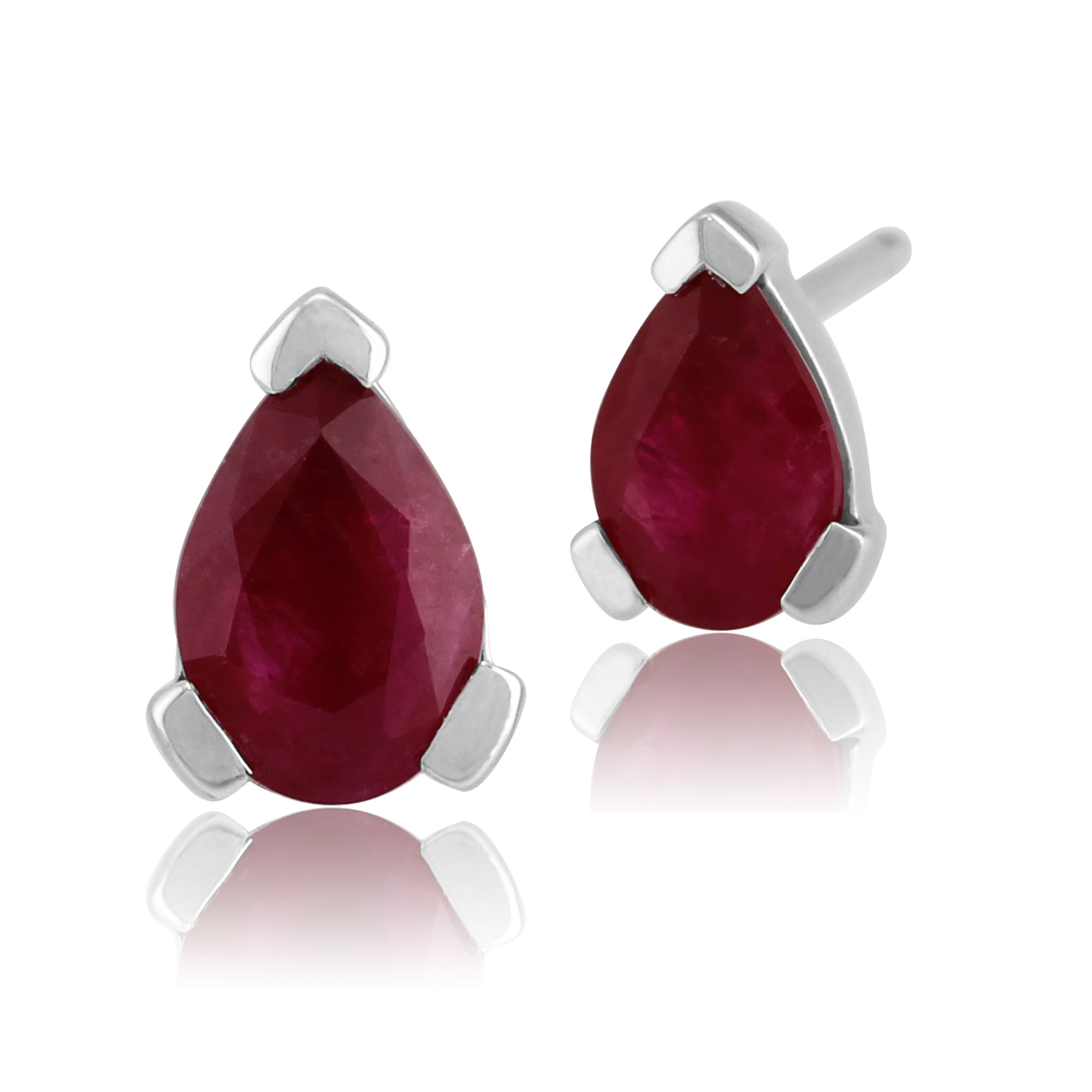 Gemondo 9ct White Gold 0.88ct Genuine Ruby 3 Claw Set Pear Stud Earrings 6.5x4mm