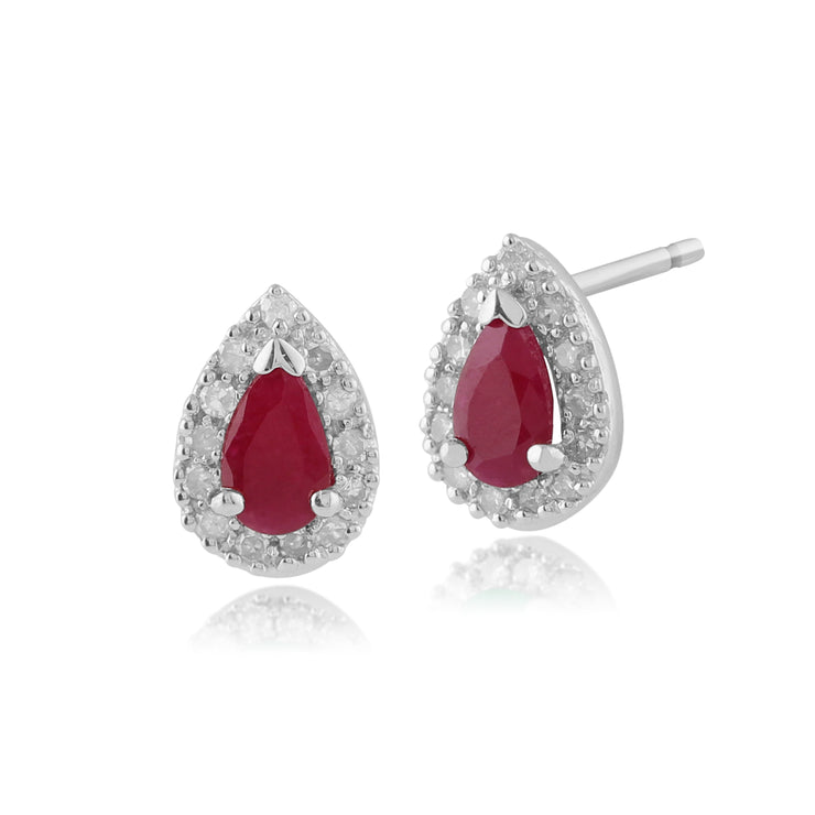 Classic Pear Ruby & Diamond Cluster Stud Earrings in 9ct White Gold