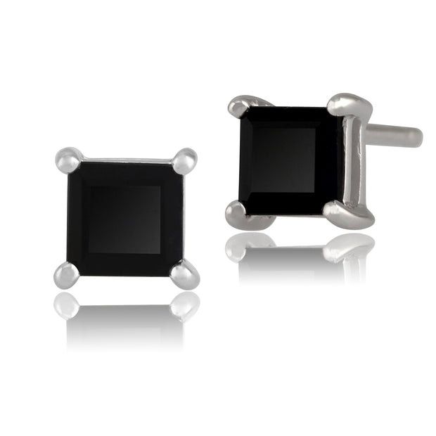 Classic Square Sapphire Stud Earrings in 9ct White Gold 4mm