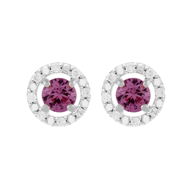 Classic Pink Sapphire Stud Earrings and Diamond Round Jacket Image 1