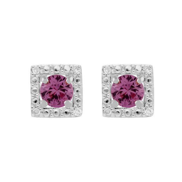 Classic Pink Sapphire Studs & Diamond Square Ear Jacket Image 1
