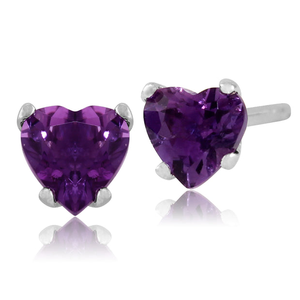 Classic Heart Amethyst Stud Earrings in 9ct White Gold 4mm