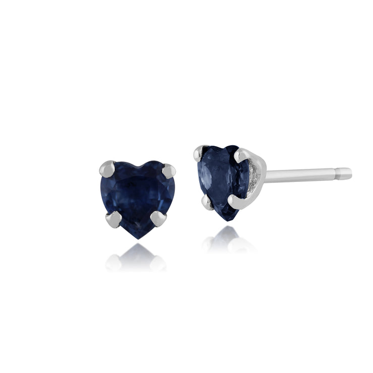 Classic Heart Light Blue Sapphire Stud Earrings in 9ct White Gold 4mm