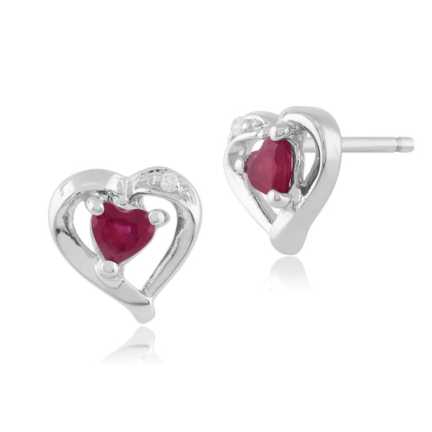 Classic Heart Ruby & Diamond Stud Earrings in 9ct White Gold