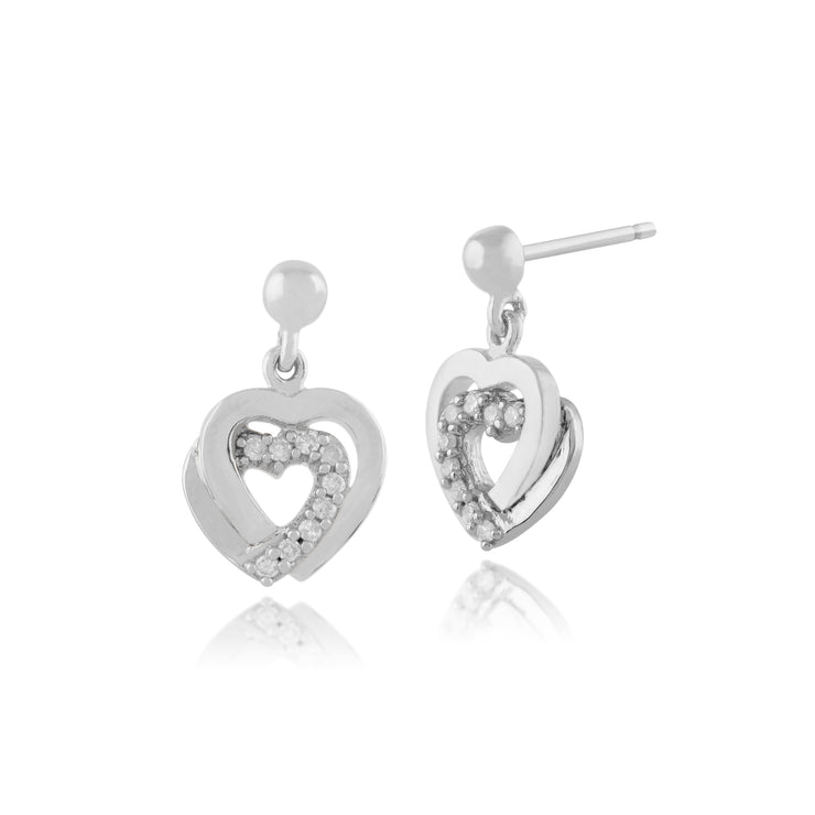 Classic Round Diamond Heart Drop Earrings in 9ct White Gold