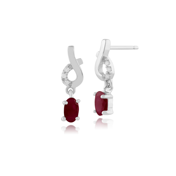 Classic Oval Ruby & Diamond Drop Earrings in 9ct White Gold
