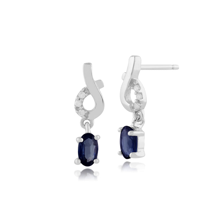 Classic Oval Light Blue Sapphire & Diamond Drop Earrings in 9ct White Gold
