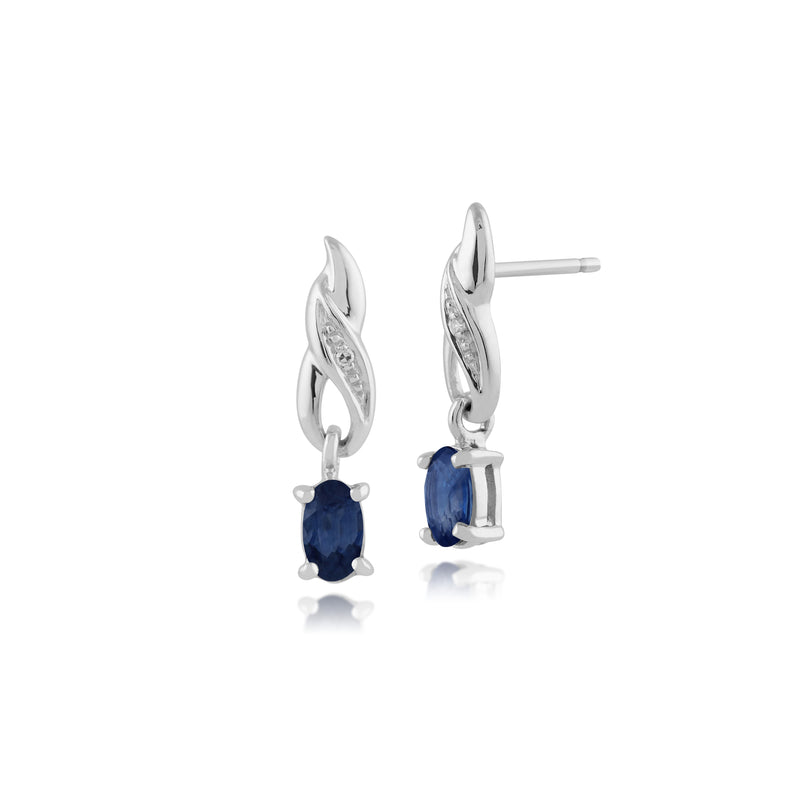 Classic Oval Sapphire & Diamond Drop Earrings in 9ct White Gold