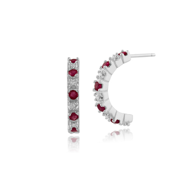 Classic Round Ruby & Diamond Half Hoop Style Earrings in 9ct White Gold