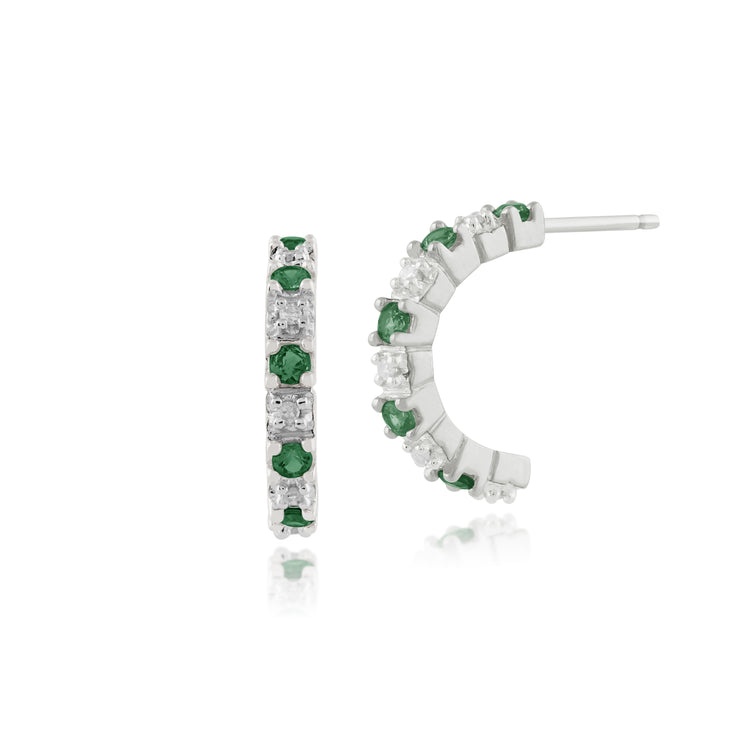 Classic Round Emerald & Diamond Half Hoop Style Earrings in 9ct White Gold