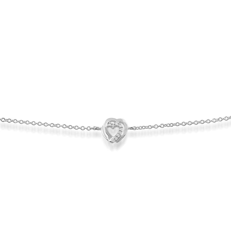 Classic Round Diamond Heart Bracelet in 9ct White Gold