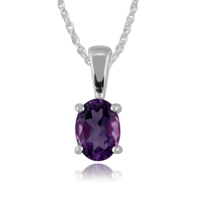 Classic Oval Amethyst Pendant in 9ct White Gold