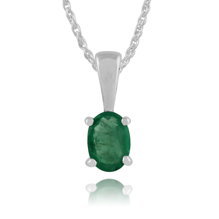 Classic Oval Emerald Pendant in 9ct White Gold