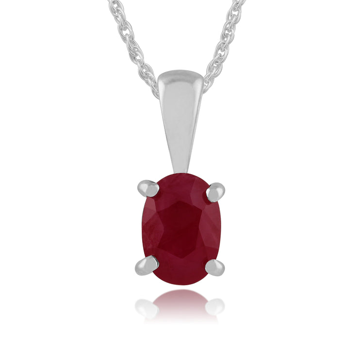 Classic Oval Ruby Pendant in 9ct White Gold
