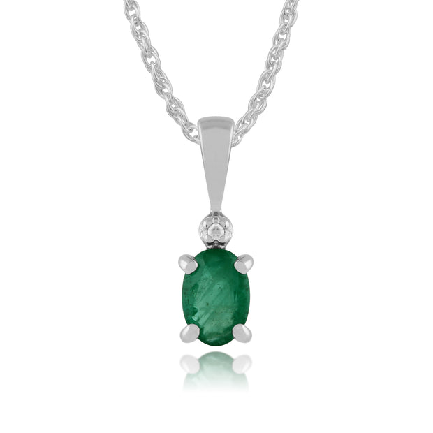 Classic Oval Emerald & Diamond Pendant in 9ct White Gold