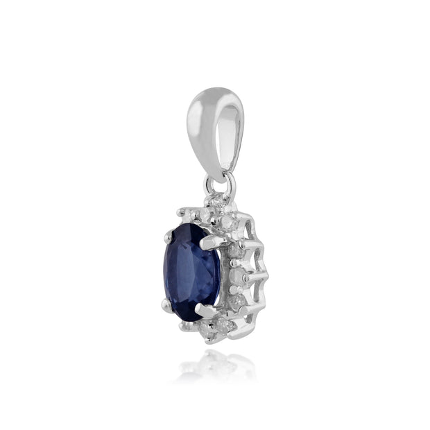Classic Oval Sapphire & Diamond Cluster Pendant in 9ct White Gold