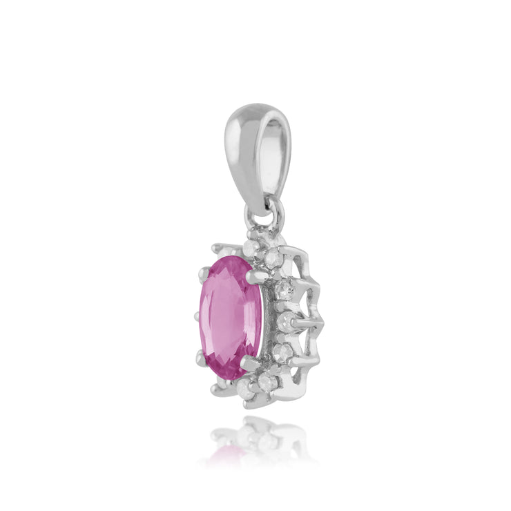 Classic Oval Pink Sapphire & Diamond Cluster Pendant 9ct White Gold
