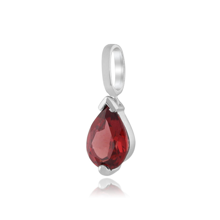 Classic Pear Garnet Pendant in 9ct White Gold