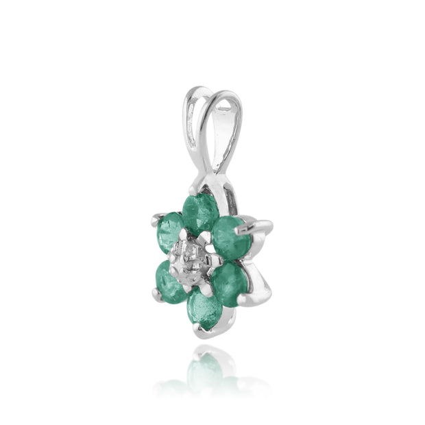 Floral Round Emerald & Diamond Cluster Pendant in 9ct White Gold