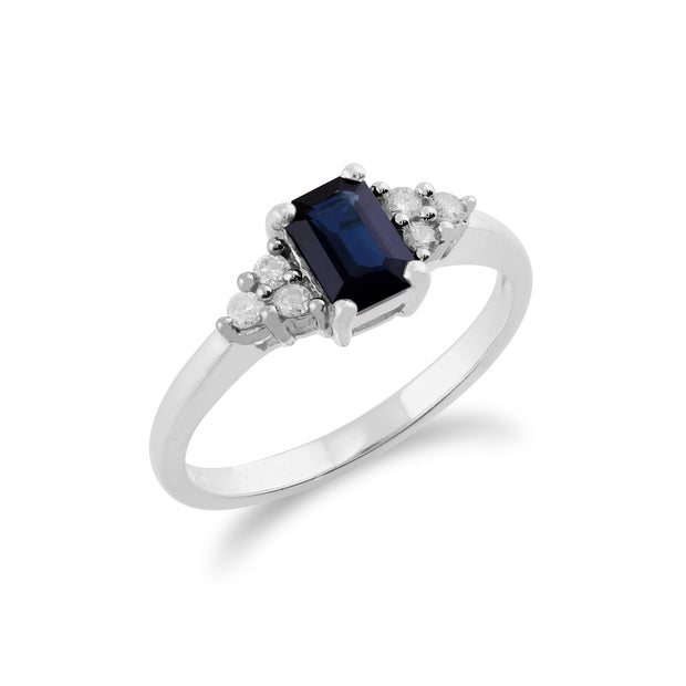 Classic Octagon Sapphire & Diamond Ring in 9ct White Gold Side