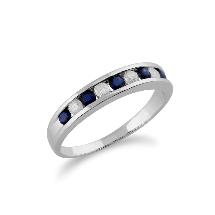 Classic Round Sapphire & Diamond 9ct White Gold Half Eternity Ring Side