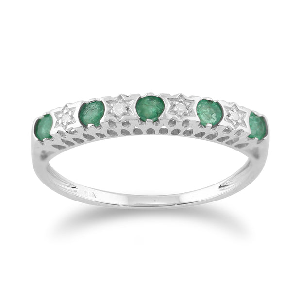 Classic Round Emerald & Diamond Half Eternity Band in 9ct White Gold